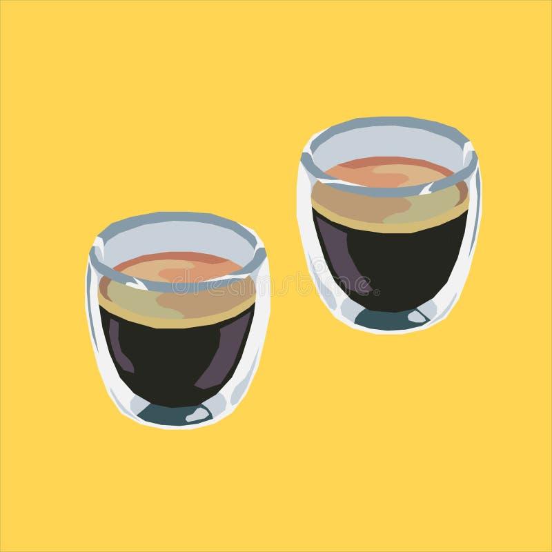 浓咖啡射击平展商标象 向量例证