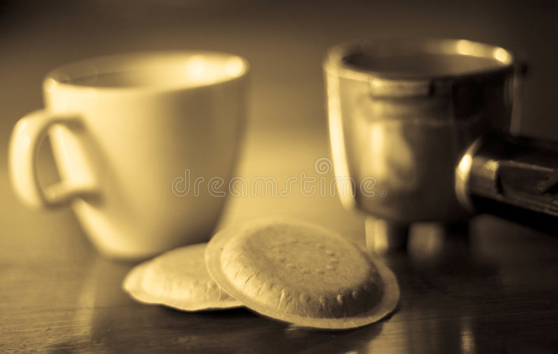 浓咖啡荚 库存图片