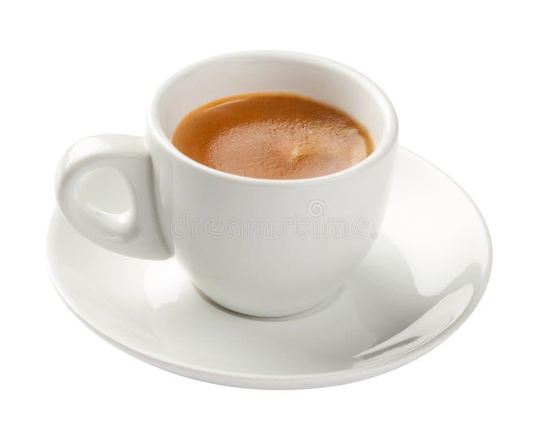 浓咖啡,在白色隔绝的咖啡杯 库存照片