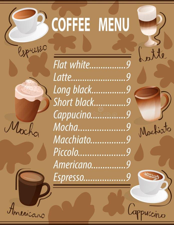 浓咖啡machiato拿铁americano上等咖啡热奶咖啡集合咖啡菜单杯子饮料 向量例证