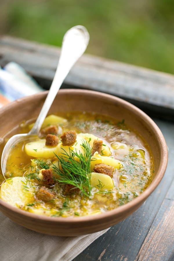 浓豌豆汤用油煎方型小面包片 库存图片