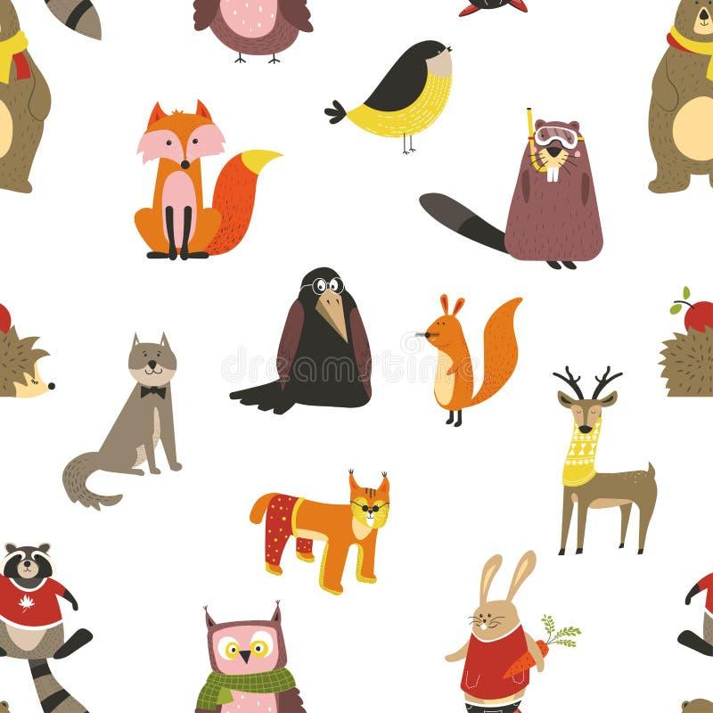 浣熊和狼、狐狸和猫头鹰鸟佩带的围巾传染媒介 库存例证