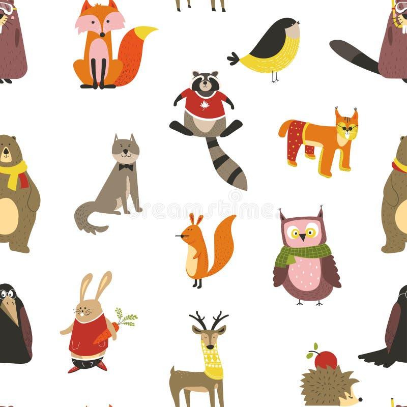 浣熊和狼、狐狸和猫头鹰鸟佩带的围巾传染媒介 皇族释放例证