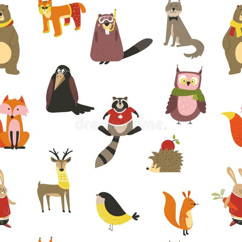 浣熊和狼、狐狸和猫头鹰鸟佩带的围巾 皇族释放例证