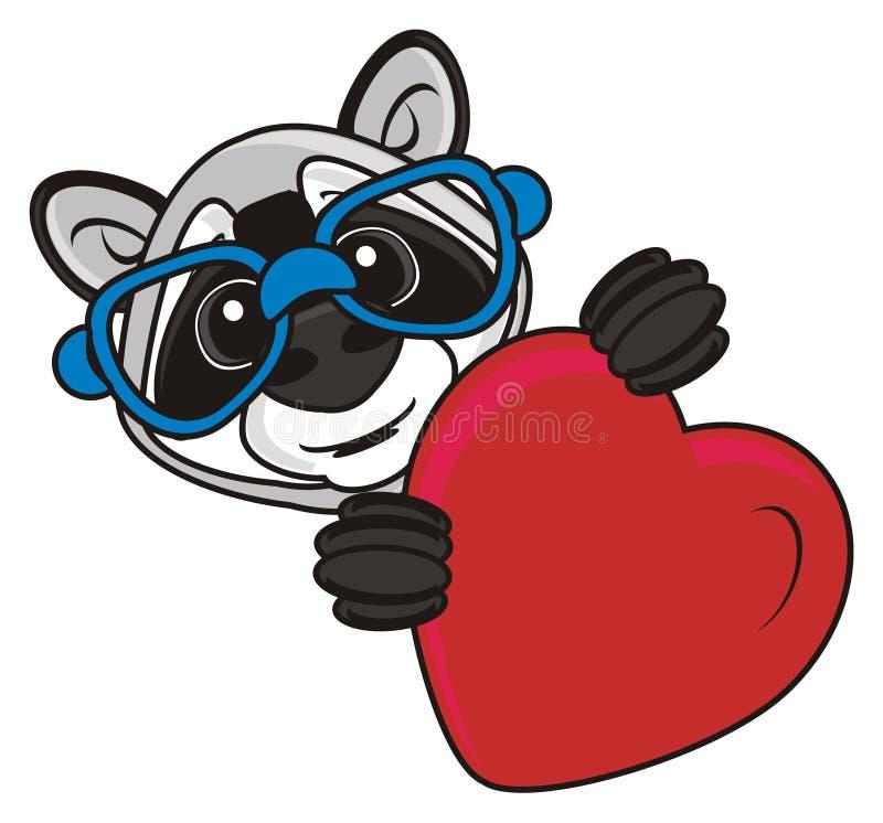 浣熊和红色心脏 皇族释放例证