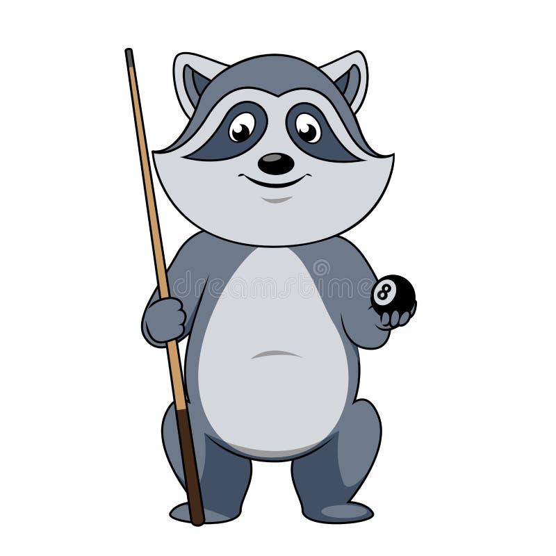 浣熊有球和暗示的打弹子者 皇族释放例证