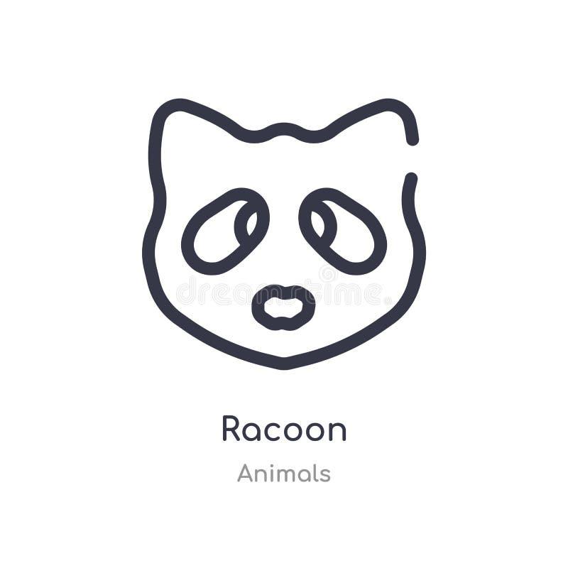 浣熊概述象 r 在白色的编辑可能的稀薄的冲程浣熊象 向量例证