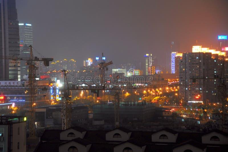 浦东上海中国夜场面  图库摄影