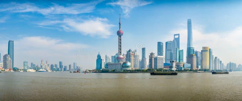 浦东区` Wai Tan `的全景视图 库存图片