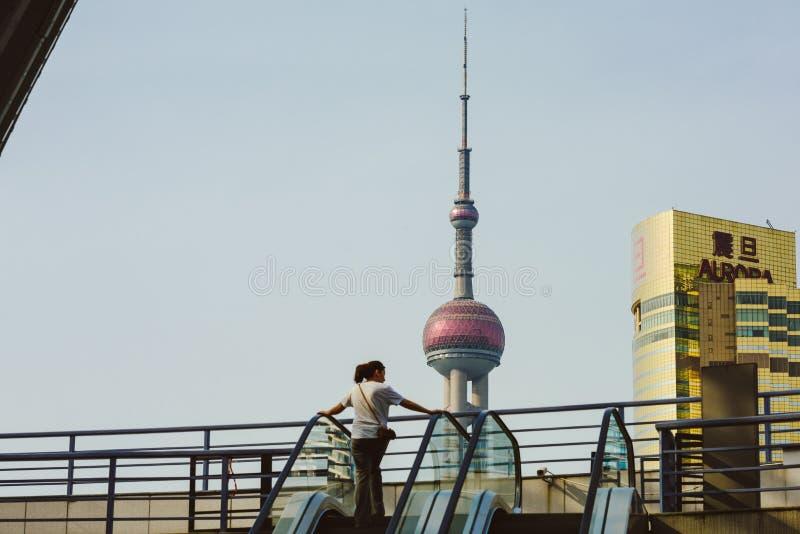 浦东新的地区建筑学细节,上海,中国 库存图片