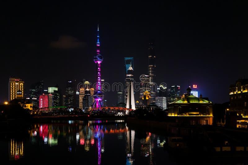 浦东新的地区,上海,中国地平线  库存照片
