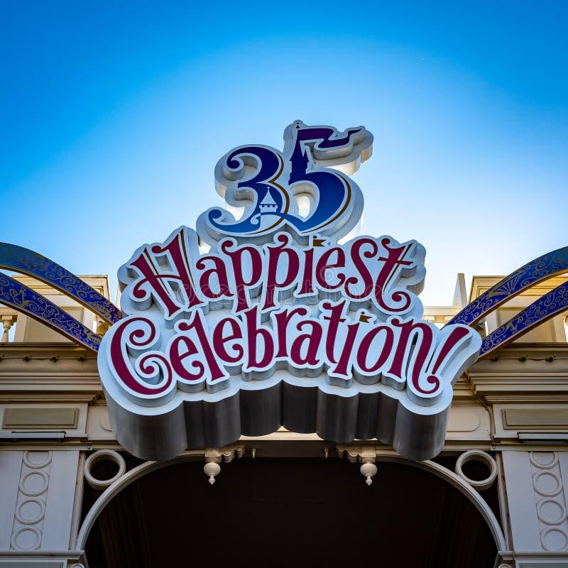 浦安,千叶/日本1月15日2019年:35最愉快的庆祝东京迪斯尼乐园 免版税图库摄影