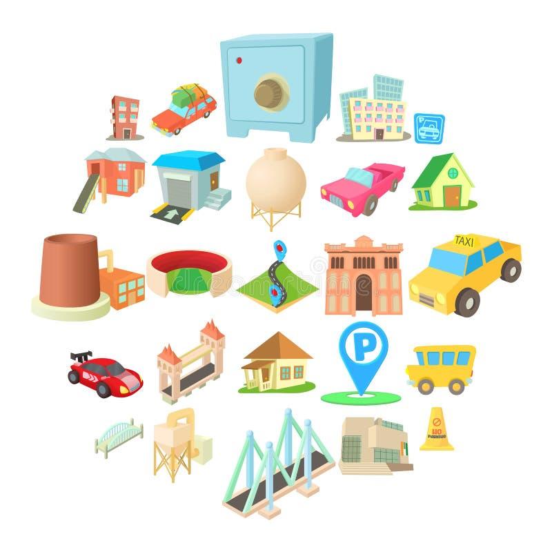 浩大的城市象集合,动画片样式 向量例证