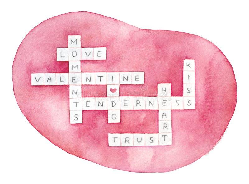 浪漫'我爱你'词难题的创造性的例证 库存例证