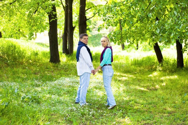 浪漫中部年迈的夫妇走 免版税库存照片