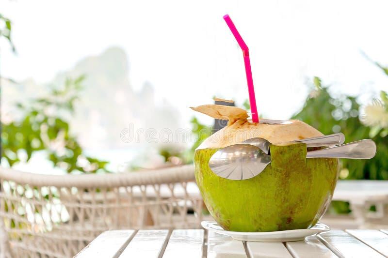 浪漫为两与秸杆和两把匙子的新鲜的椰子汁在白色木桌上反对被弄脏的海滩和山 浪漫 免版税库存照片