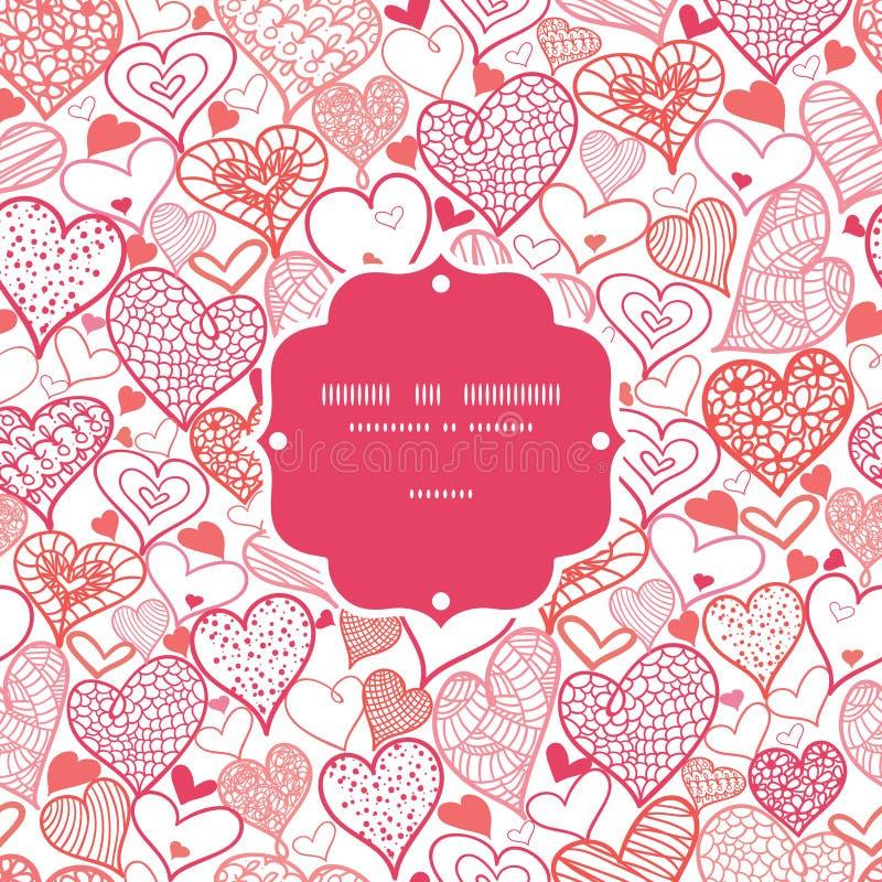 浪漫乱画心脏框架无缝的样式 库存例证