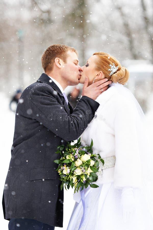 浪漫亲吻愉快的新娘和新郎在冬天 库存图片