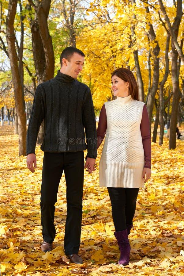 浪漫人民,愉快的成人夫妇在秋天城市公园、树与黄色叶子,明亮的太阳和愉快的情感,柔软走 免版税库存照片