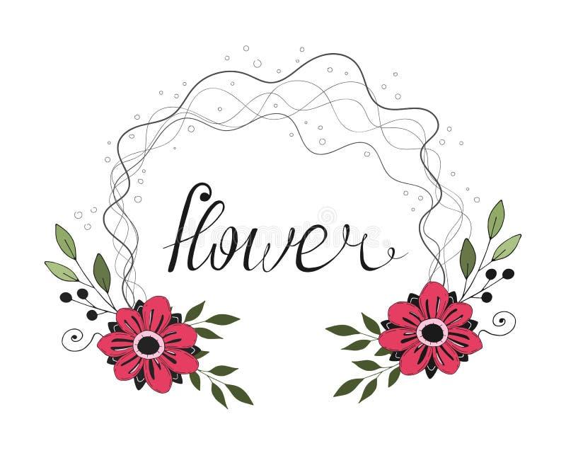 浪漫动画片与caligraphic题字的色的花框架 r 向量例证