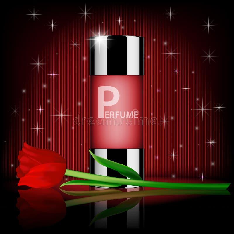 浪漫化妆用品集合,玫瑰色香水包含与红色玫瑰,在红色发光的背景 现实香水瓶 库存例证