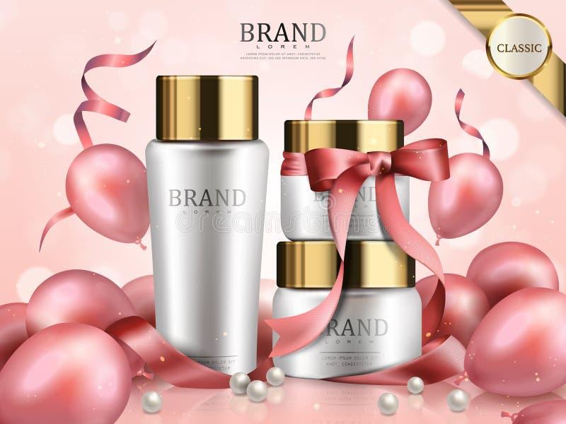 浪漫化妆用品集合 向量例证