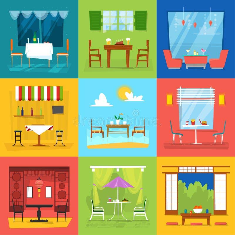 浪漫午餐晚餐的装饰用餐家具桌的餐馆内部传染媒介咖啡馆和椅子在自助食堂棍打酒吧 向量例证