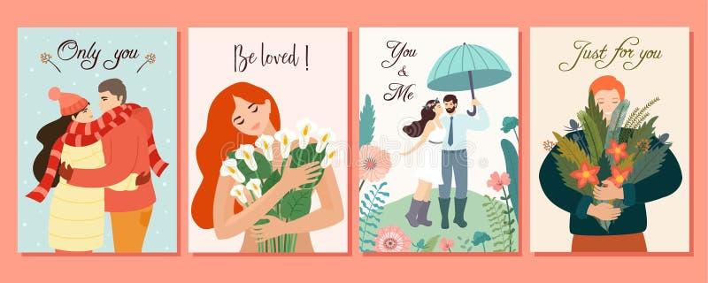 浪漫卡片的汇集 传染媒介设计观念为情人节 与花和爱的夫妇的美好的例证 皇族释放例证
