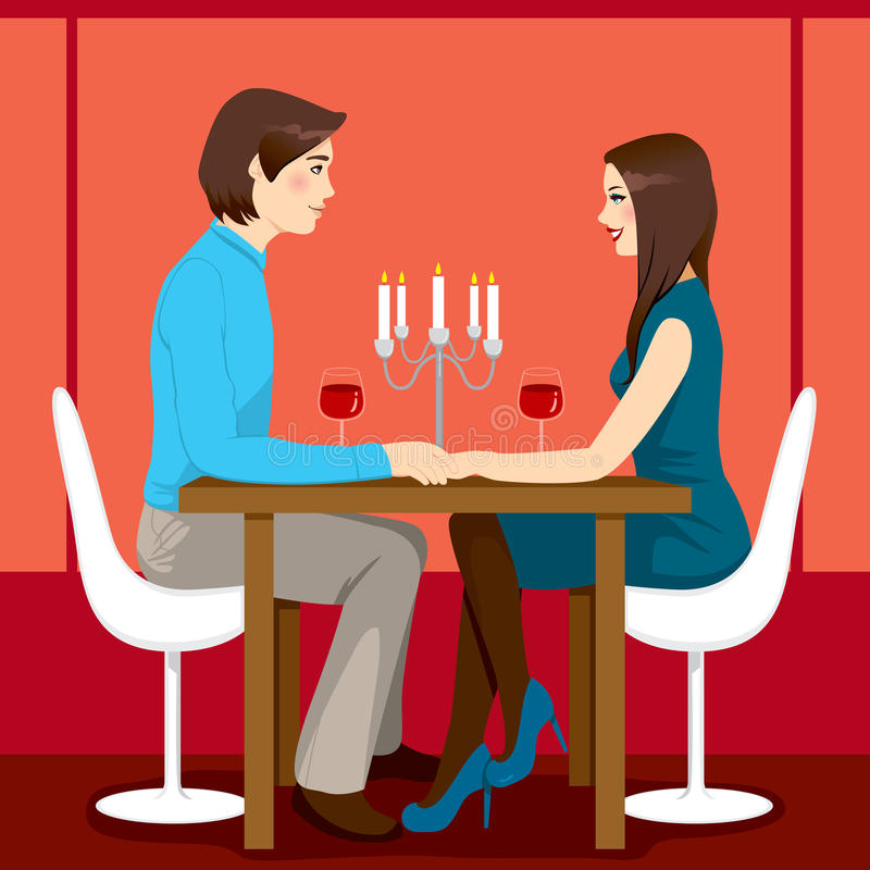浪漫周年纪念正餐 皇族释放例证
