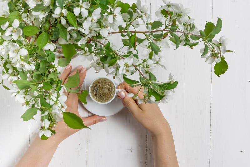浪漫咖啡在开花的庭院里,春天早餐 免版税库存照片