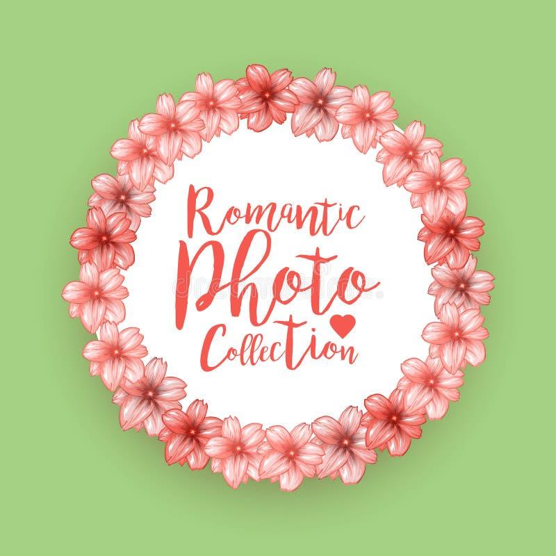 浪漫圈子照片框架用桃红色樱桃开花 库存例证