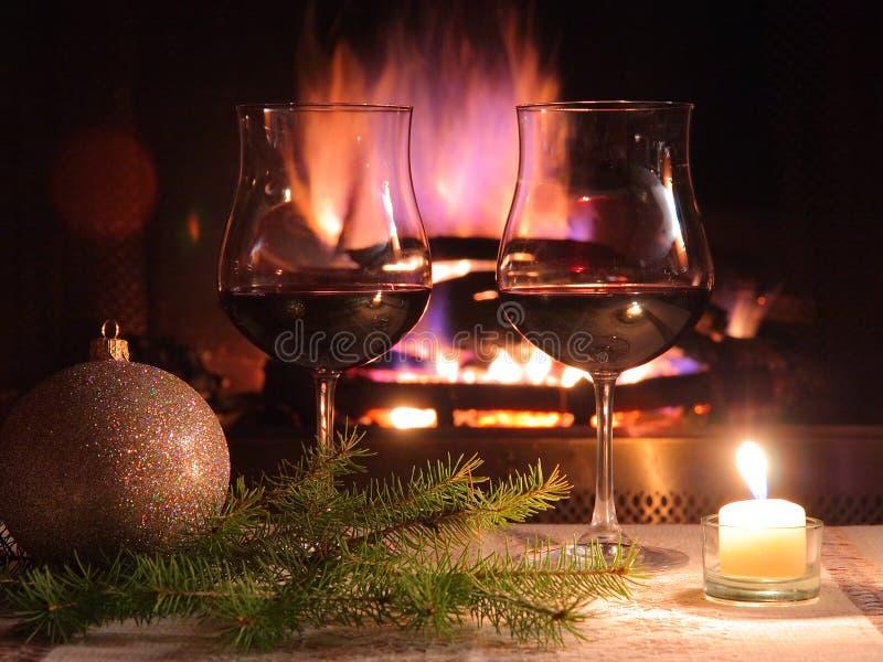 浪漫圣诞节的正餐 免版税库存图片