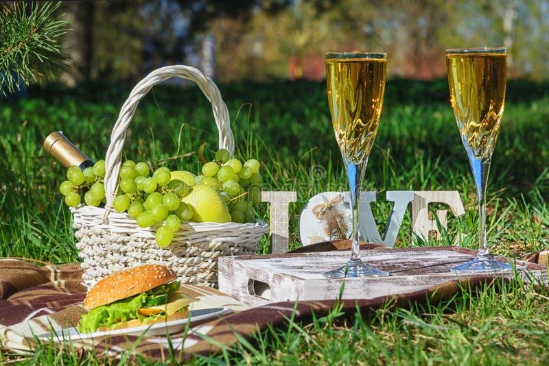 浪漫在夏天绿色草甸的野餐新膳食 免版税库存照片