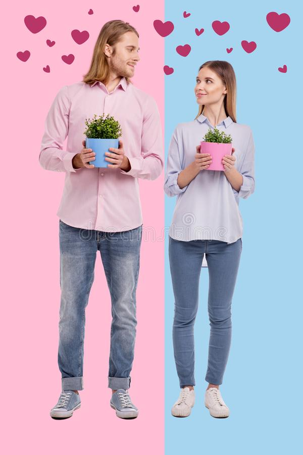 浪漫夫妇买的花在搬到一个新房以后 免版税图库摄影