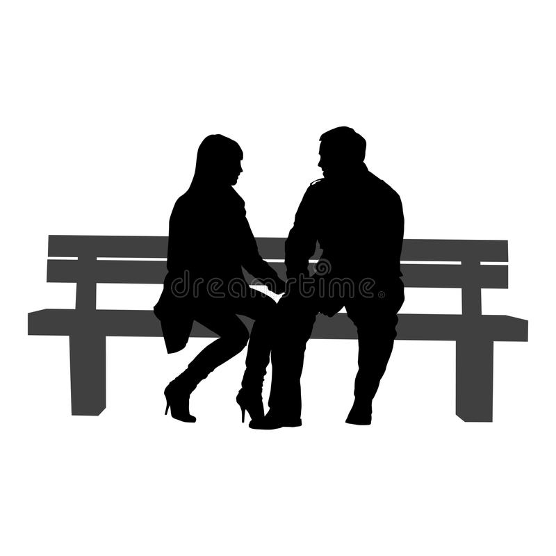 浪漫夫妇剪影在白色背景的 向量例证