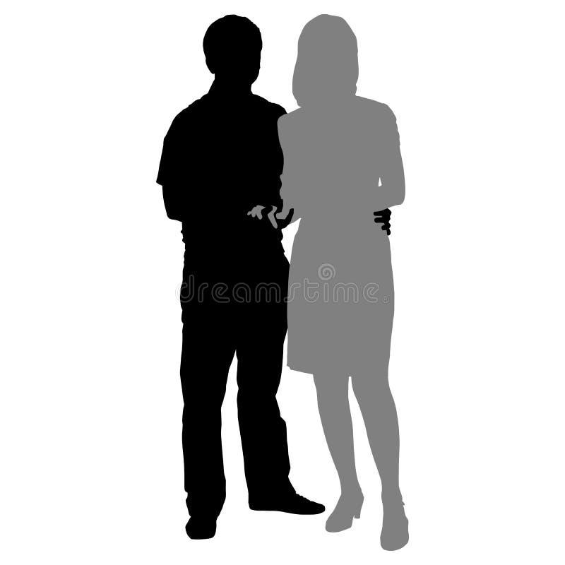 浪漫夫妇剪影在白色背景的 皇族释放例证