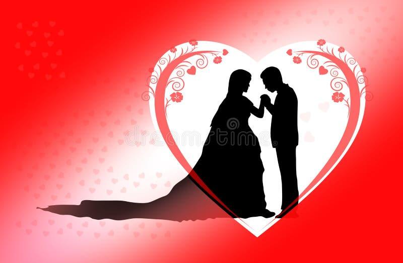 浪漫夫妇剪影 皇族释放例证