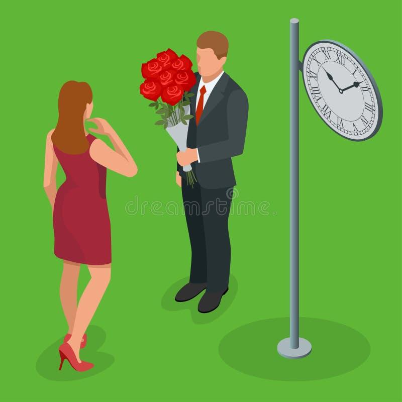 浪漫夫妇在爱会议 爱并且庆祝概念 人给妇女玫瑰花束  浪漫恋人 向量例证
