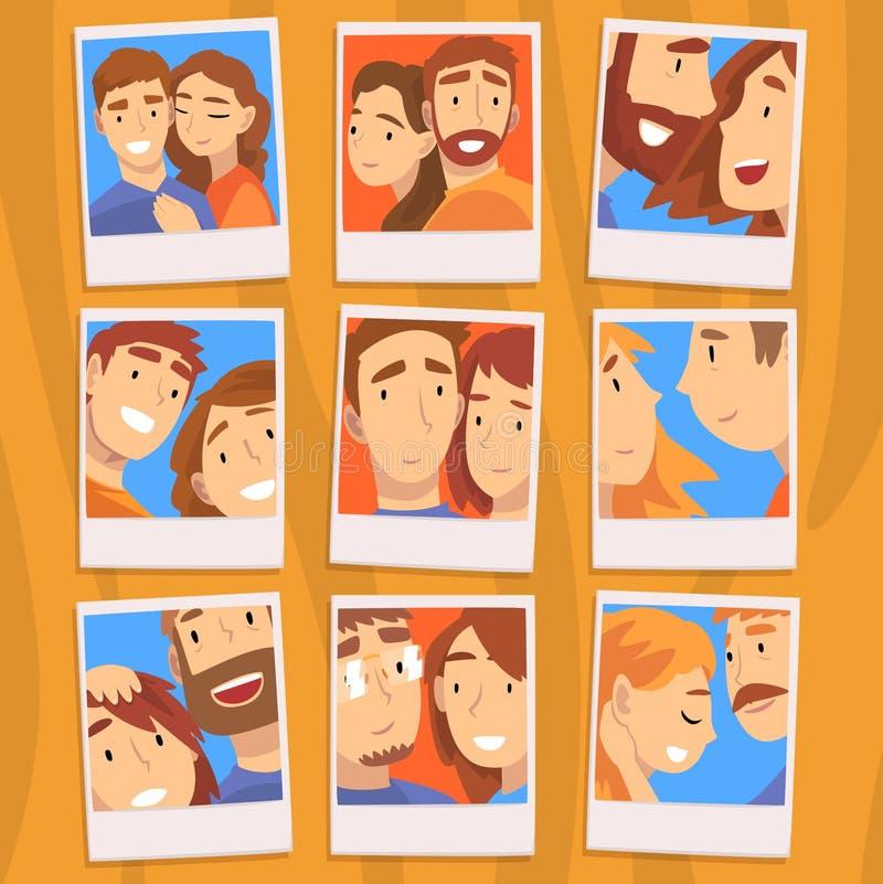 浪漫夫妇愉快的人画象在爱集合的,照片和妇女导航例证 皇族释放例证