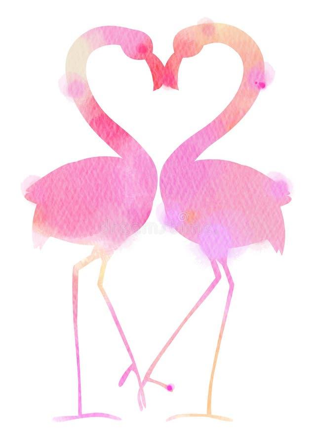 浪漫夫妇爱概念剪影水彩  愉快的Val 向量例证
