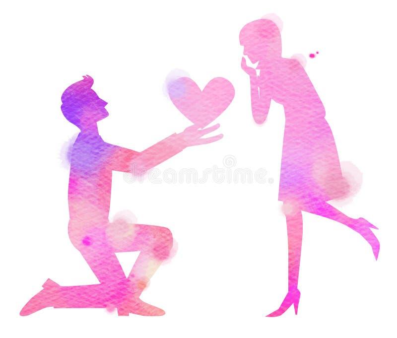 浪漫夫妇爱概念剪影水彩  愉快的Val 库存例证