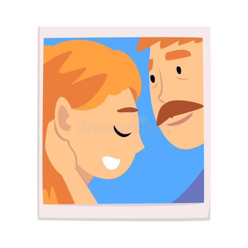 浪漫夫妇画象在爱的,愉快的男人和妇女传染媒介例证照片  库存例证