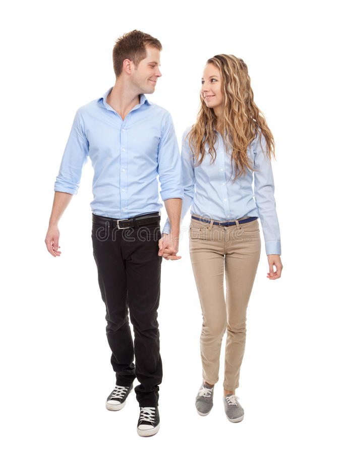 年轻浪漫夫妇走 免版税库存照片