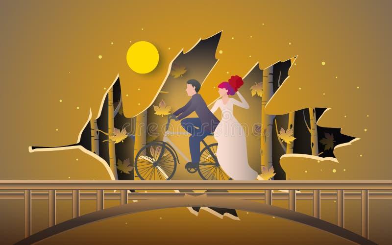 浪漫夫妇骑马自行车的例证在叶子纸裁减包括的秋天森林的 库存例证