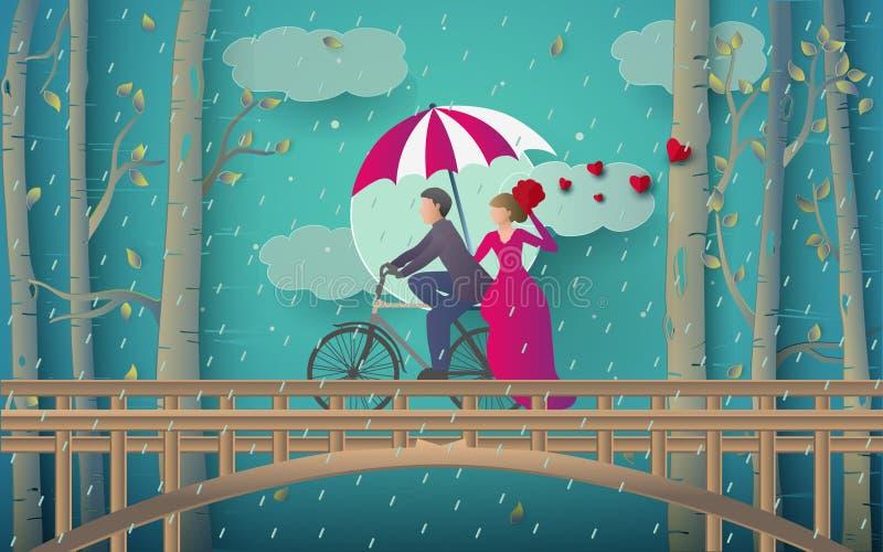 浪漫夫妇骑马自行车的例证在桥梁和多雨森林的 皇族释放例证