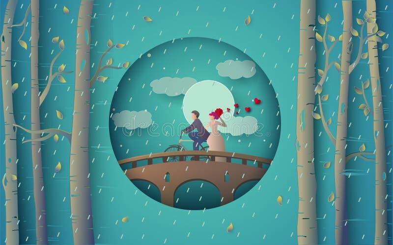 浪漫夫妇骑马自行车的例证在桥梁和多雨森林的 向量例证