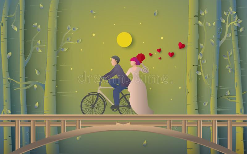 浪漫夫妇骑马自行车的例证在桥梁的 向量例证