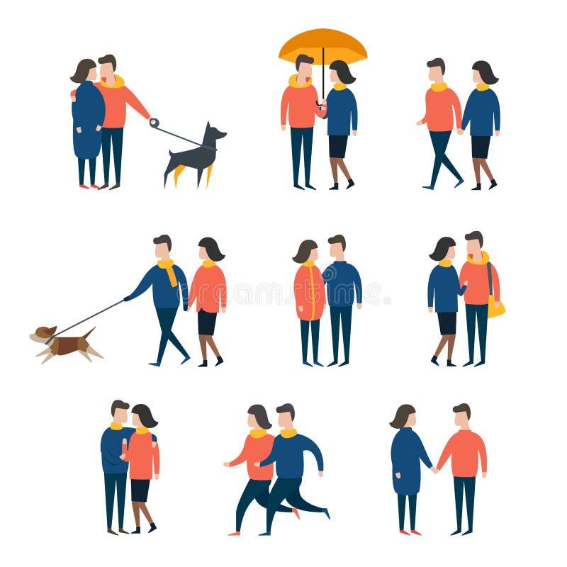 浪漫夫妇,一起恋人人 人字符传染媒介集合 向量例证