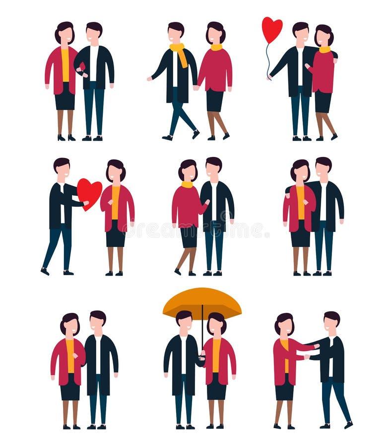 浪漫夫妇,一起恋人人 人字符传染媒介集合 库存例证