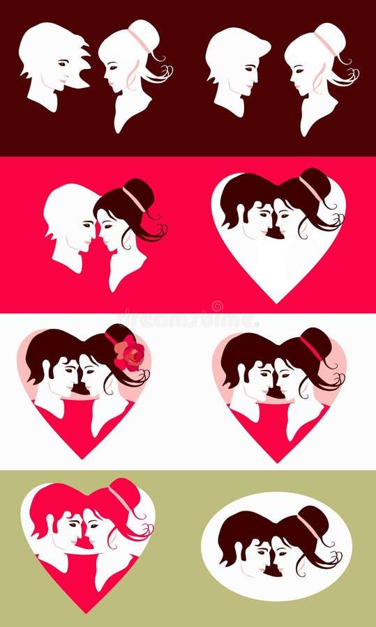浪漫夫妇 美好的集 华伦泰的卡片的模板 也corel凹道例证向量 库存例证